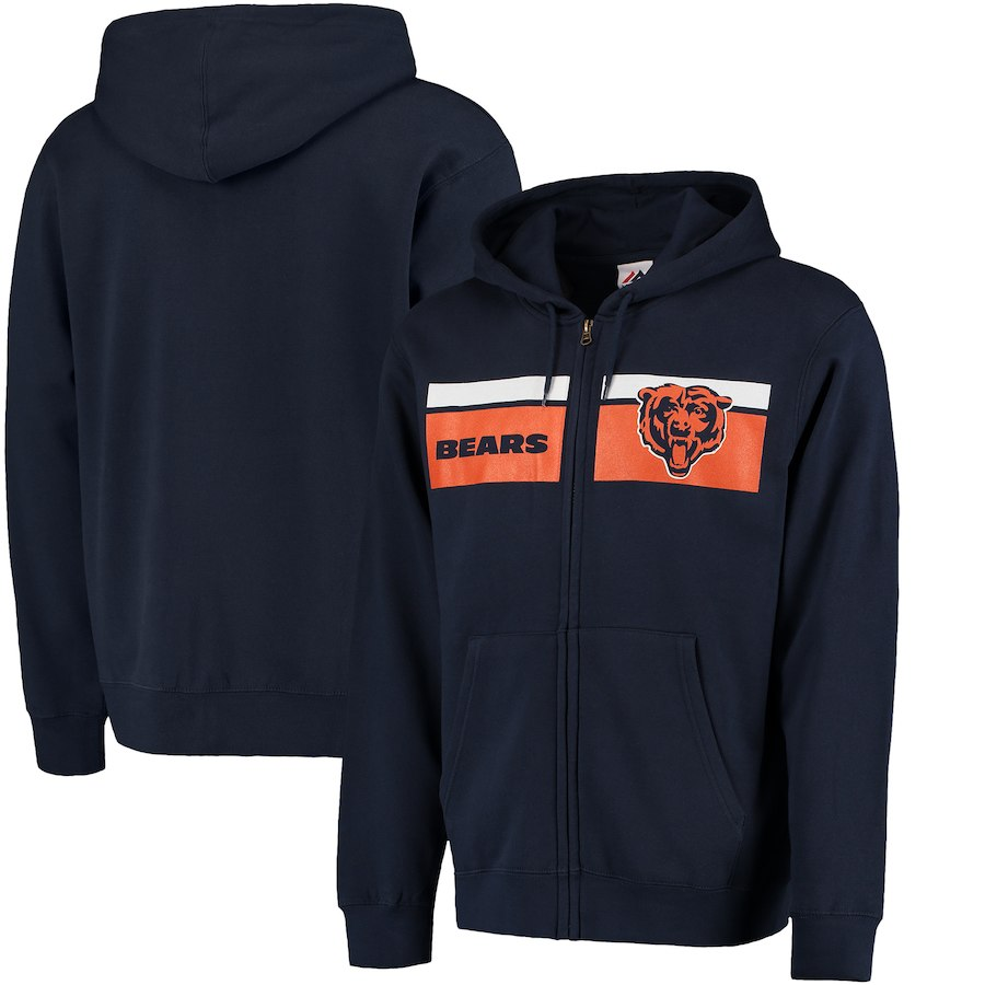 Chicago Bears Majestic Touchback Full Zip Hoodie Navy