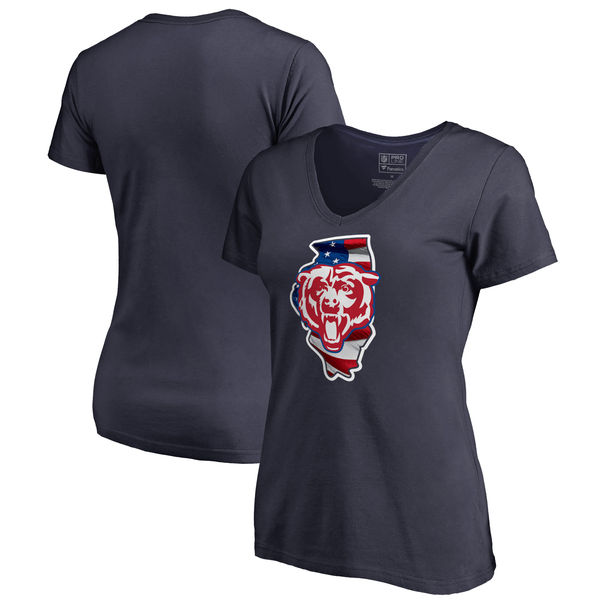 Chicago Bears Navy Women's NFL Pro Line By Fanatics Branded Banner State T-Shirt