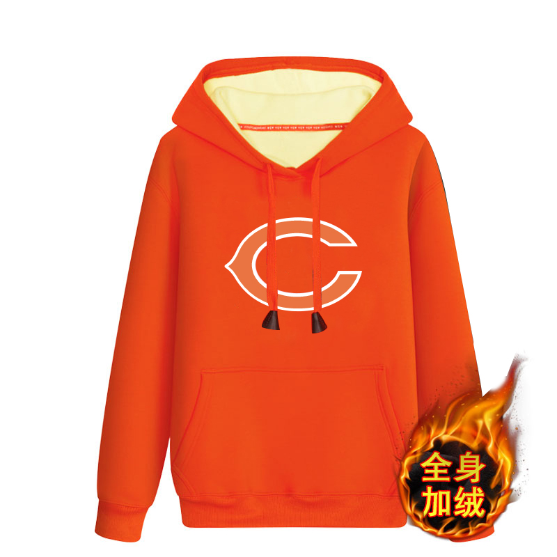 Chicago Bears Orange Men's Winter Thick NFL Pullover Hoodie