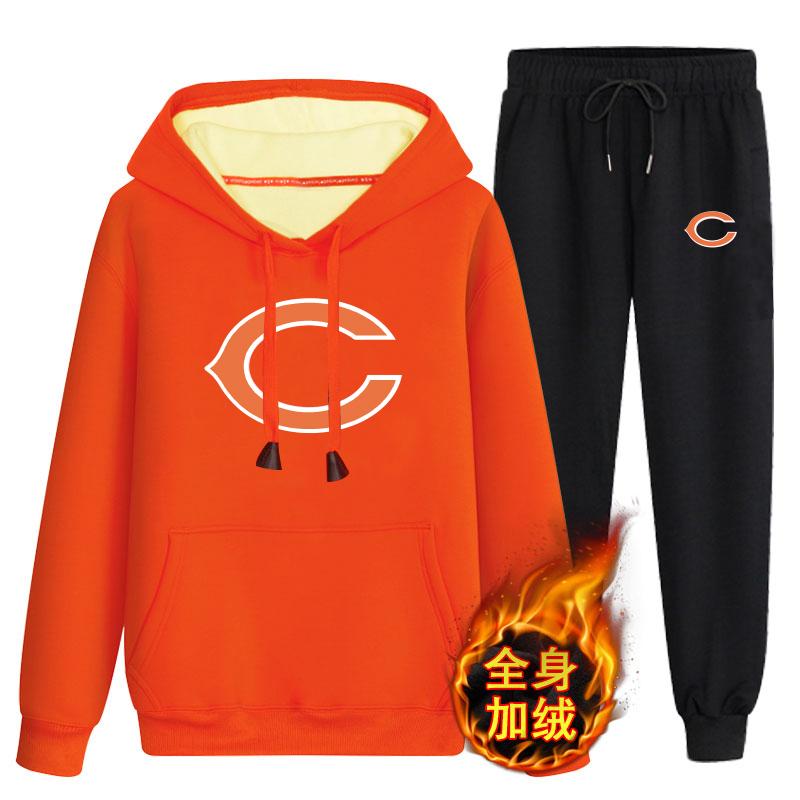 Chicago Bears Orange Men's Winter Thicken NFL Pullover Hoodie & Pant