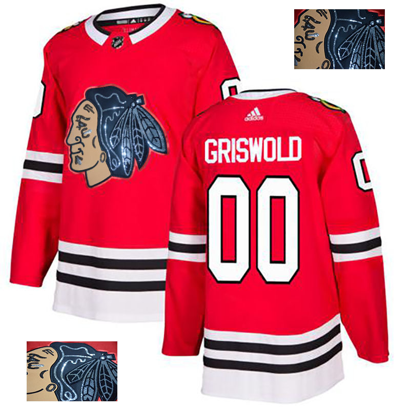 Chicago Blackhawks 00 Clark Griswold Red Glittery Edition Adidas Jersey