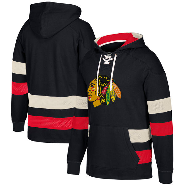Chicago Blackhawks Black Men's Customized All Stitched Hooded Sweatshirt