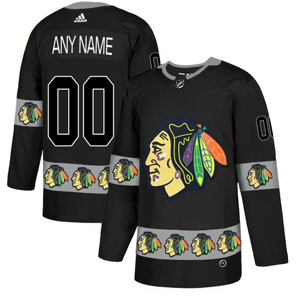 Chicago Blackhawks Black Men's Customized Team Logos Fashion Adidas Jersey