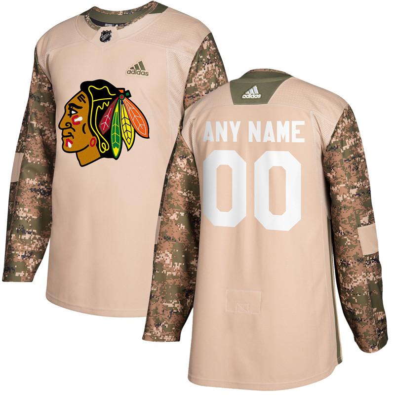 Chicago Blackhawks Camo Adidas Veterans Day Custom Practice Jersey
