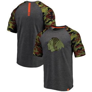 Chicago Blackhawks Fanatics Branded Heathered Gray Camo Recon Camo Raglan T-Shirt