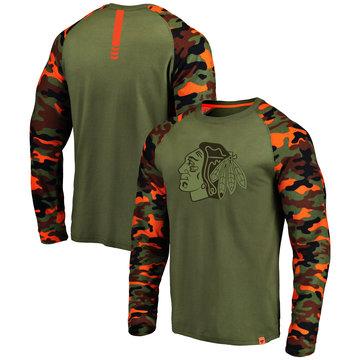Chicago Blackhawks Fanatics Branded Olive Camo Recon Long Sleeve Raglan T-Shirt