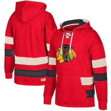 Chicago Blackhawks Red Men's Customized All Stitched Hooded Sweatshirt