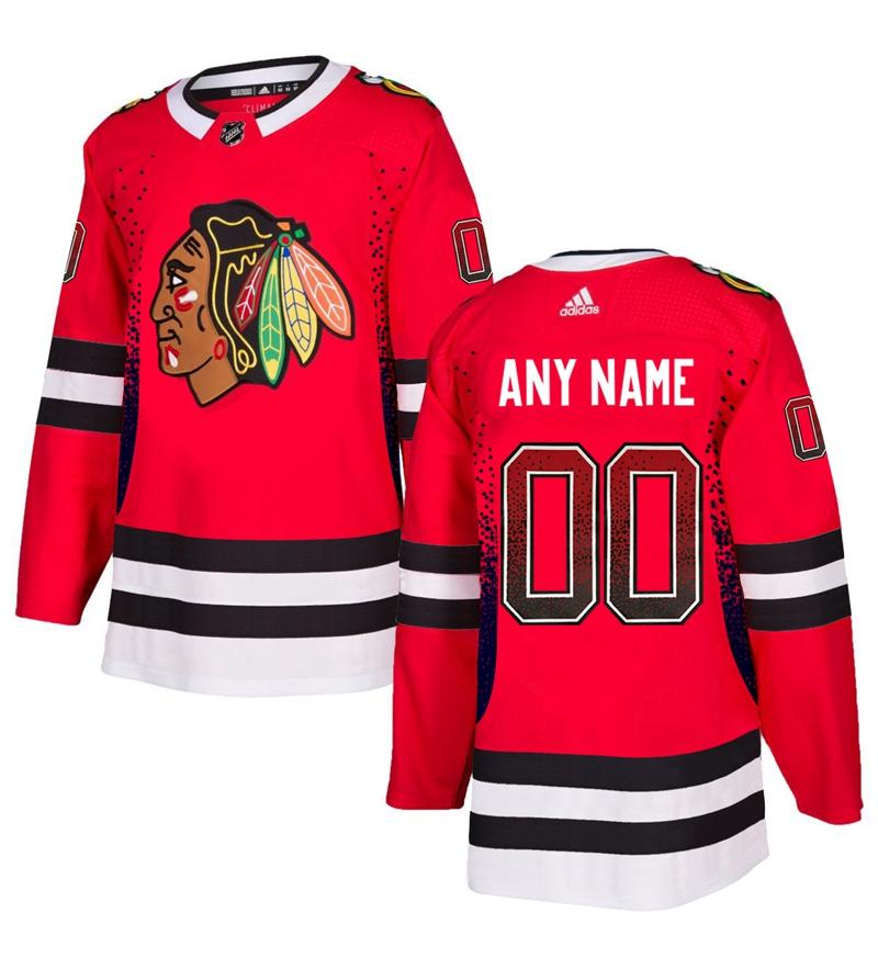 Chicago Blackhawks Red Men's Customized Drift Fashion Adidas Jersey