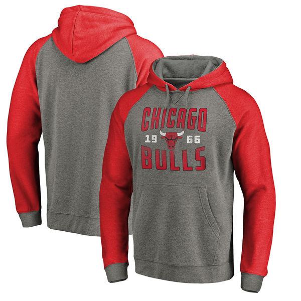 Chicago Bulls Fanatics Branded Ash Antique Stack Tri Blend Raglan Pullover Hoodie