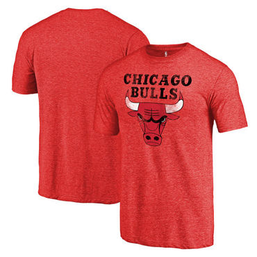 Chicago Bulls Fanatics Branded Heather Red Distressed Team Logo Tri-Blend T-Shirt