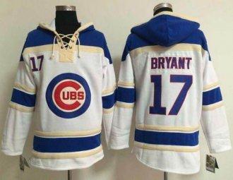 Chicago Cubs #17 Kris Bryant White Sawyer Hooded Sweatshirt Baseball Hoodie