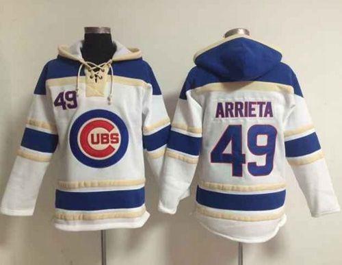 Chicago Cubs #49 Jake Arrieta White Sawyer Hooded Sweatshirt MLB Hoodie