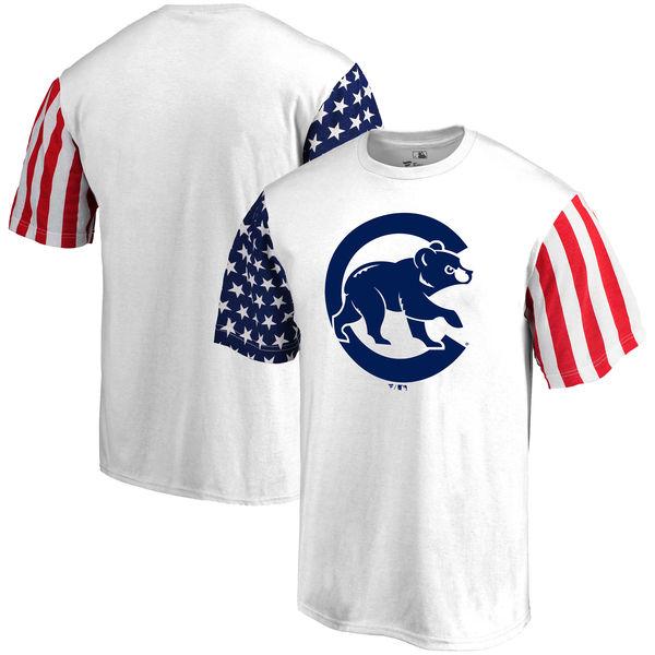 Chicago Cubs Fanatics Branded Stars & Stripes T-Shirt White