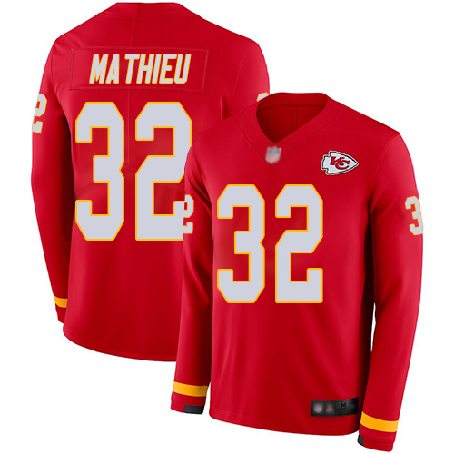 Chiefs #32 Tyrann Mathieu Red Team Color Men's Stitched Football Limited Therma Long Sleeve Jersey