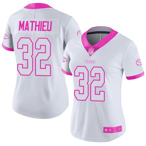Chiefs #32 Tyrann Mathieu White Pink Women's Stitched Football Limited Rush Fashion Jersey