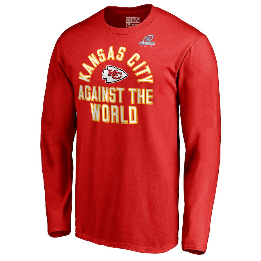 Chiefs Red 2018 NFL Playoffs Against The World Men's Long Sleeve T-Shirt