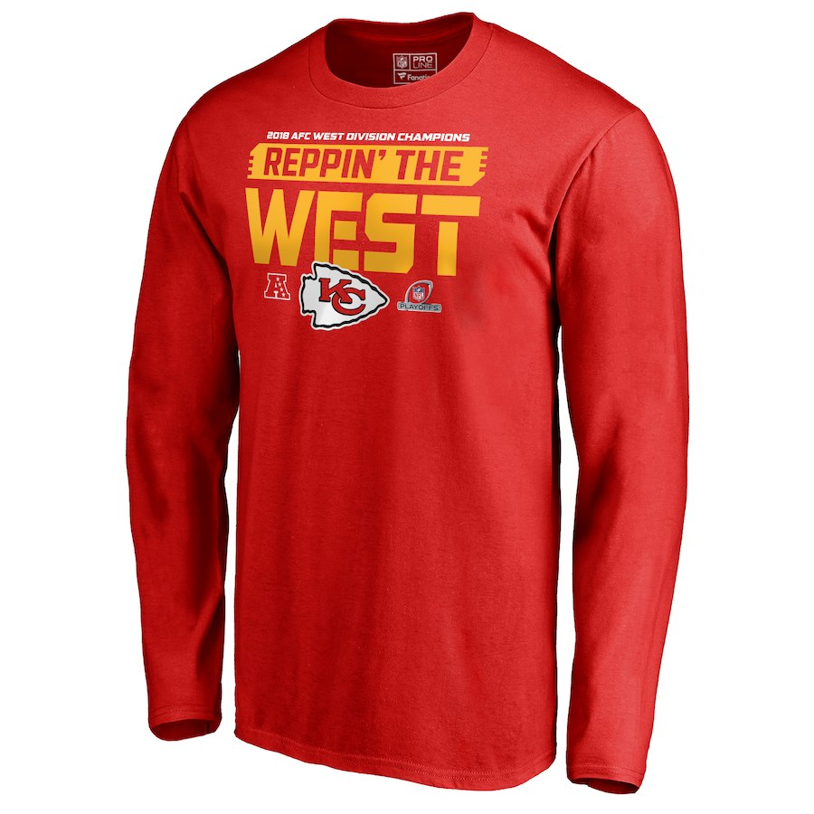 Chiefs Red 2018 NFL Playoffs Reppin' The West Men's Long Sleeve T-Shirt