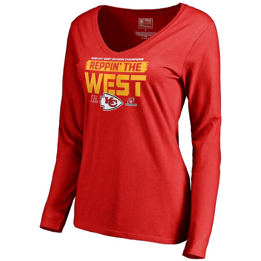 Chiefs Red Women's Long Sleeve 2018 NFL Playoffs Reppin' The West T-Shirt