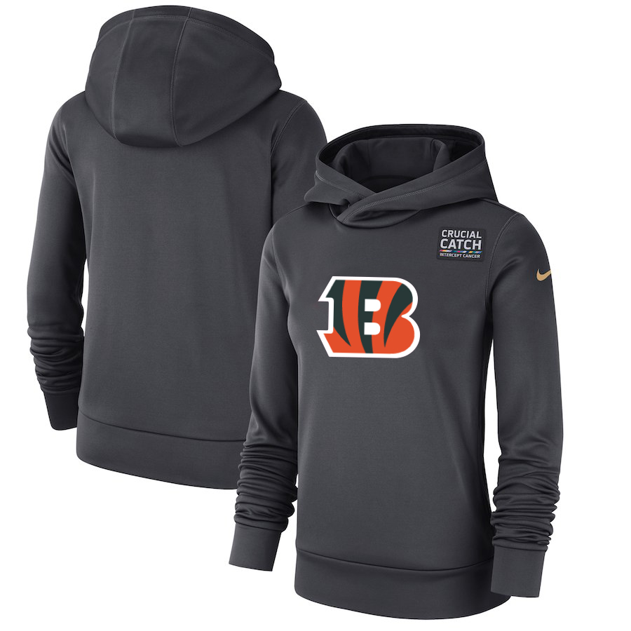 Cincinnati Bengals Anthracite Women's Nike Crucial Catch Performance Hoodie