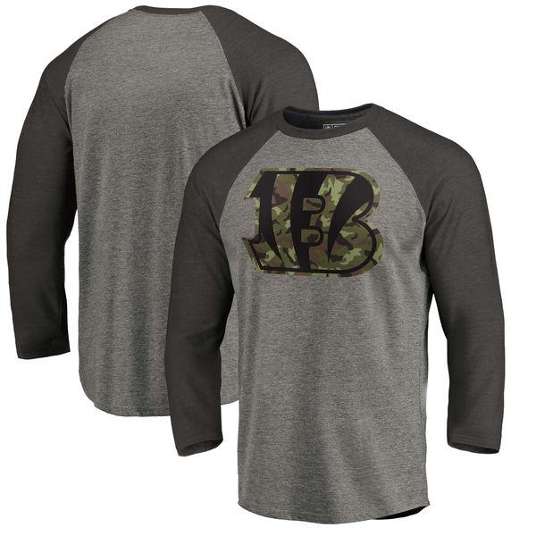 Cincinnati Bengals NFL Pro Line By Fanatics Branded Black Gray Tri Blend 34-Sleeve T-Shirt