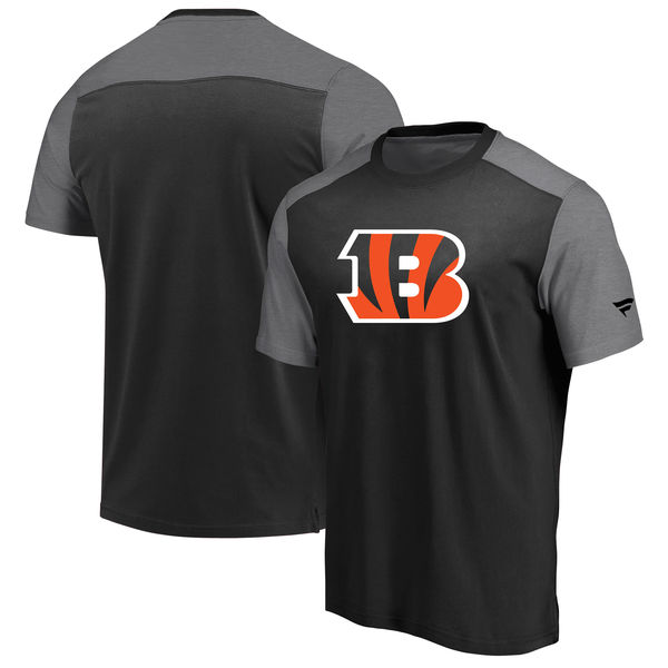 Cincinnati Bengals NFL Pro Line By Fanatics Branded Iconic Color Block T-Shirt BlackHeathered Gray