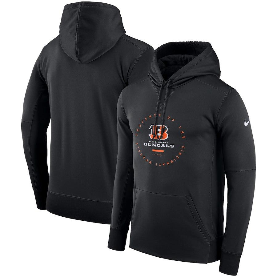 Cincinnati Bengals Nike Sideline Property Of Wordmark Logo Performance Pullover Hoodie Black
