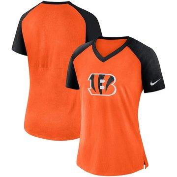 Cincinnati Bengals Nike Women's Top V Neck T-Shirt Orange Black
