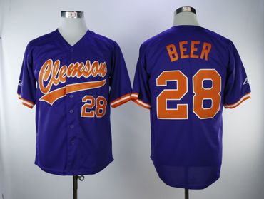 Clemson Tigers 28 Seth Beer Purple College Baseball Jersey