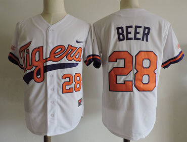 Clemson Tigers 28 Seth Beer White College Jersey