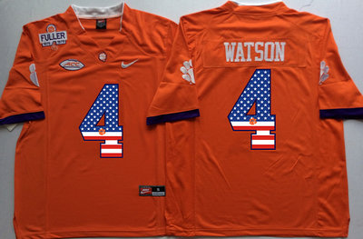 Clemson Tigers 4 Deshaun Watson Orange 1975 1978 Fuller USA Flag College Jersey