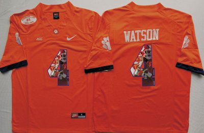 Clemson Tigers 4 Deshaun Watson Orange Portrait Number College Jersey