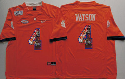Clemson Tigers 4 Deshaun Watson Orange With 1975 1978 Fuller Patch Portrait Number College Jersey