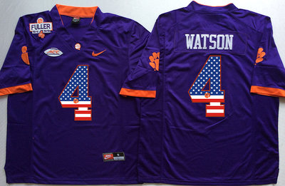 Clemson Tigers 4 Deshaun Watson Purple 1975 1978 Fuller USA Flag College Jersey