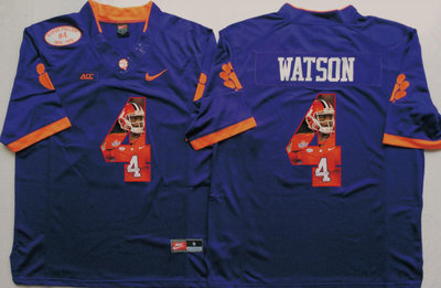 Clemson Tigers 4 Deshaun Watson Purple Portrait Number College Jersey