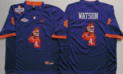 Clemson Tigers 4 Deshaun Watson Purple With 1975 1978 Fuller Patch Portrait Number College Jersey
