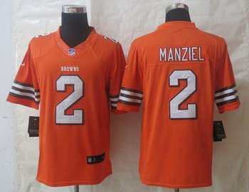 Cleveland Browns #2 Johnny Manziel Orange NFL Limited Jersey