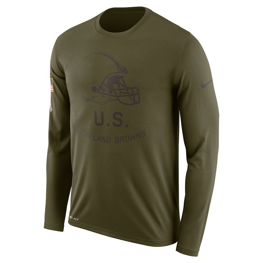 Cleveland Browns Nike Salute To Service Sideline Legend Performance Long Sleeve T-Shirt Olive