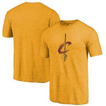 Cleveland Cavaliers Fanatics Branded Gold Distressed Logo Tri-Blend T-Shirt