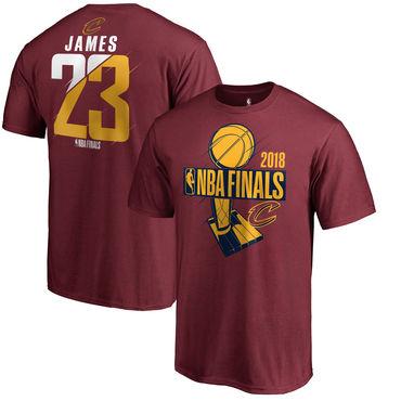 Cleveland Cavaliers LeBron James Fanatics Branded 2018 NBA Finals Bound Player Name & Number T-Shirt Burgundy