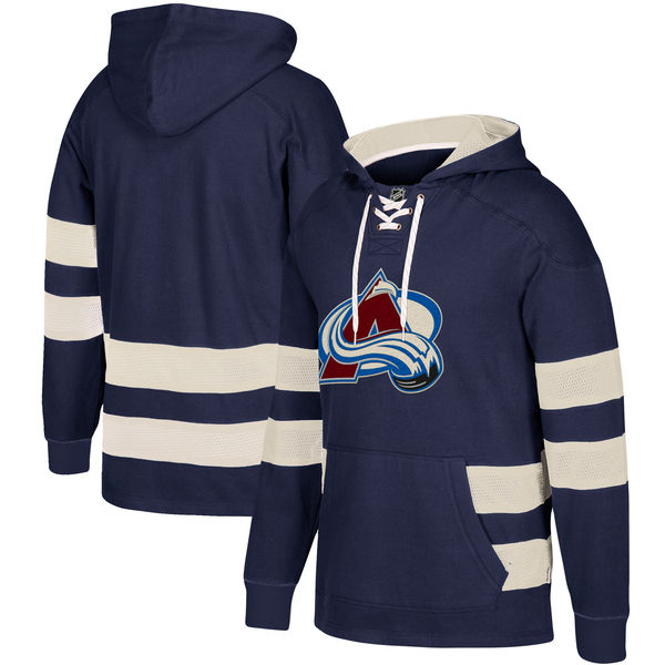 Colorado Avalanche Navy Men's Customized All Stitched Hooded Sweatshirt