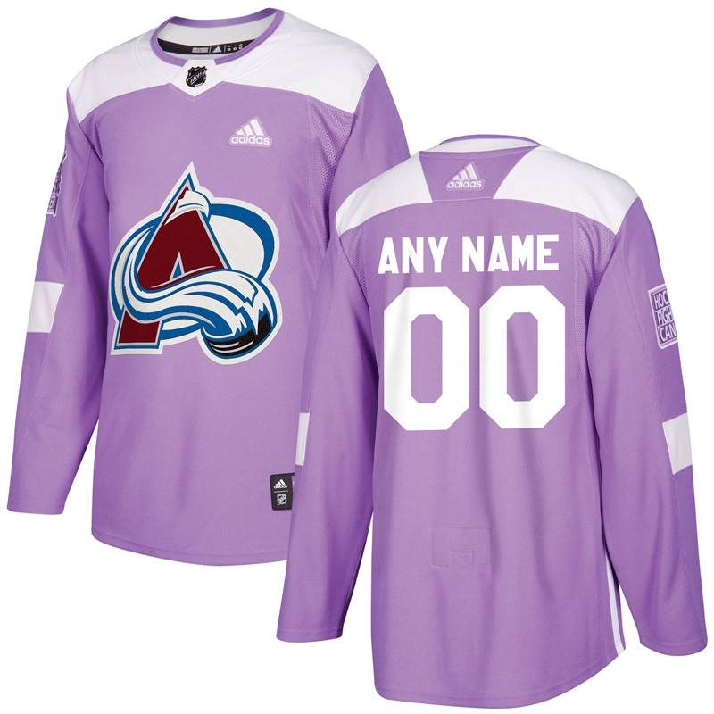 Colorado Avalanche Purple Adidas Hockey Fights Cancer Custom Practice Jersey