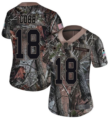 Cowboys #18 Randall Cobb Camo Women's Stitched Football Limited Rush Realtree Jersey