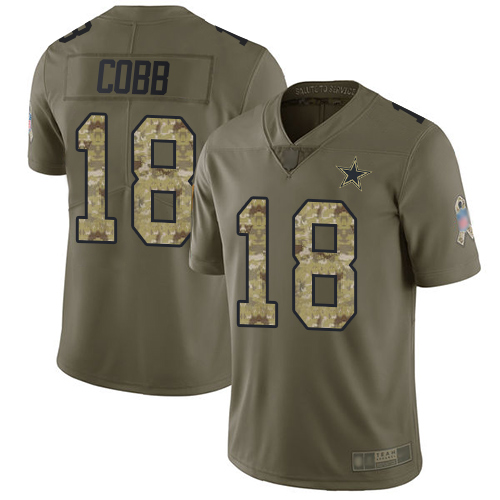 Cowboys #18 Randall Cobb Olive Camo Youth Stitched Football Limited 2017 Salute to Service Jersey