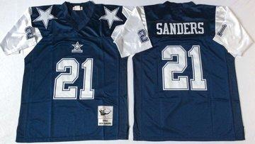 Cowboys 21 Deion Sanders Blue Throwback Jersey