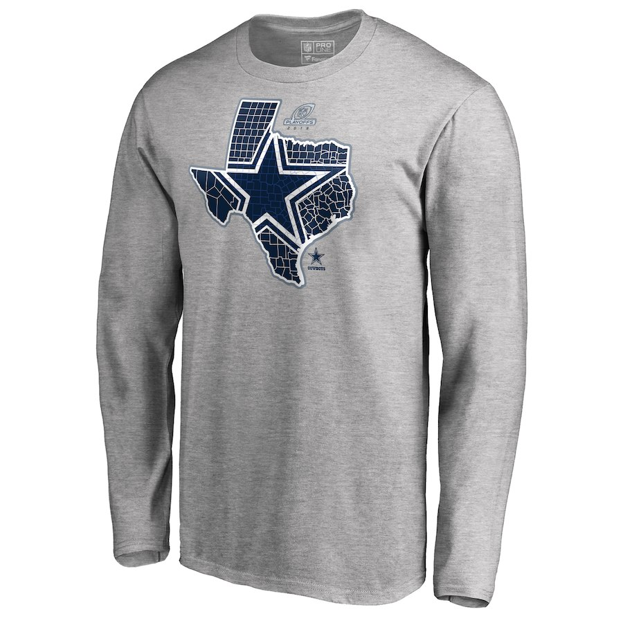 Cowboys Gray 2018 NFL Playoffs Men's Long Sleeve T-Shirt