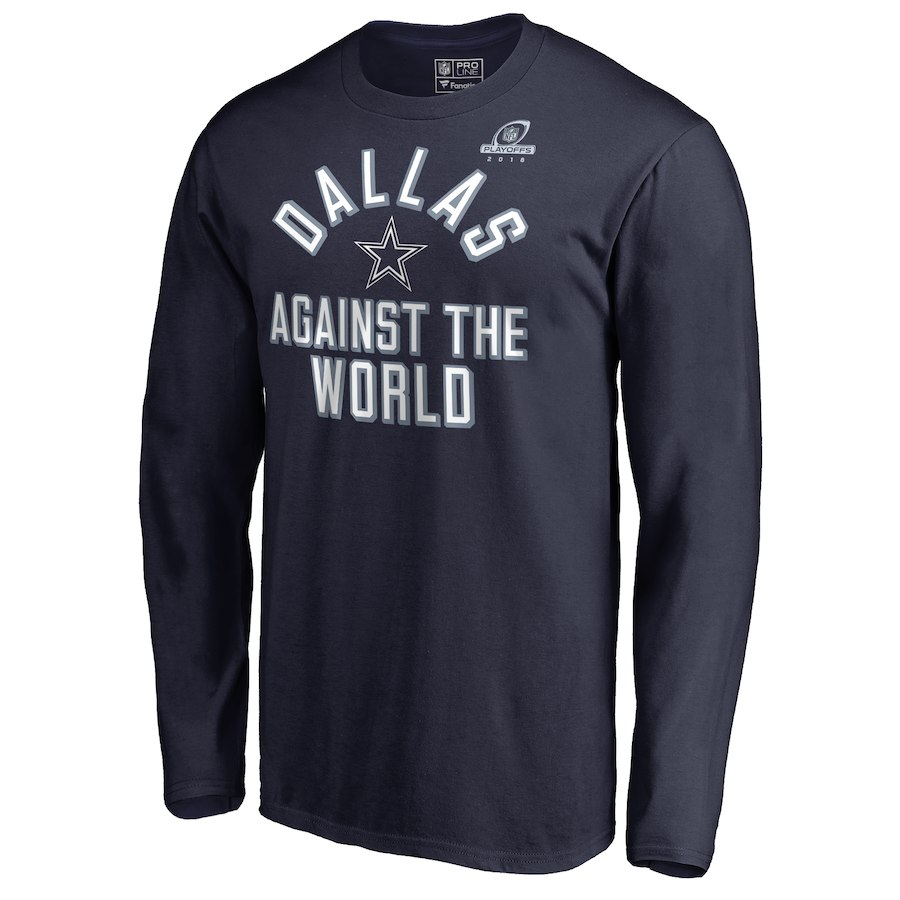 Cowboys Navy 2018 NFL Playoffs Against The World Men's Long Sleeve T-Shirt