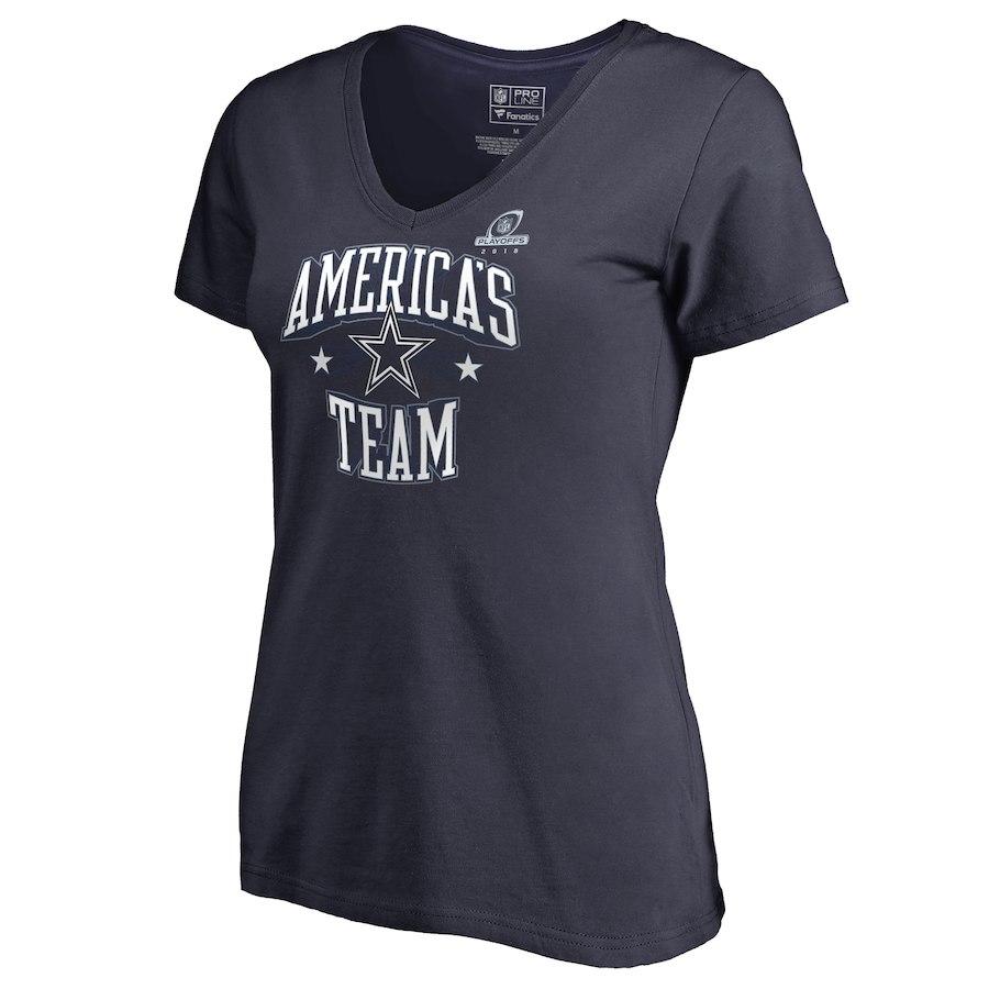 Cowboys Navy Women's 2018 NFL Playoffs America's Team Shirt