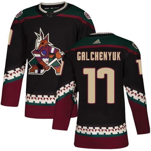 Coyotes #17 Alex Galchenyuk Black Alternate Authentic Stitched Hockey Jersey