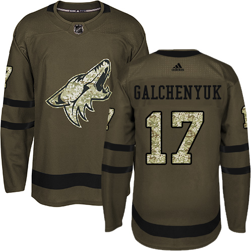 Coyotes #17 Alex Galchenyuk Green Salute to Service Stitched Hockey Jersey
