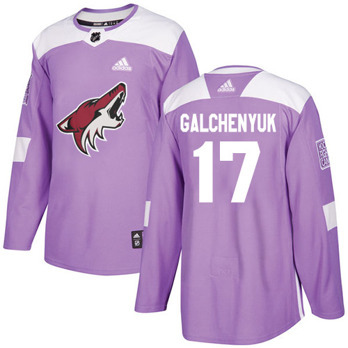 Coyotes #17 Alex Galchenyuk Purple Authentic Fights Cancer Stitched Hockey Jersey